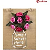 Archies Decorative Wall Hanging Wooden Frame With Artificial Flower (3D) (Red & Pink Rose)