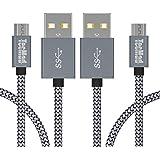 Câble Micro USB, TecMad[1m/3.3ft 2 Pack] en Nylon Tressé Synchro Rapide Câble USB et Charge rapide Micro USB pour Samsung Galaxy S7 Edge / S6,HTC, Nexus, LG, Huawei, Kindle, Asus ,Smartphone et Plus Encore -Gris
