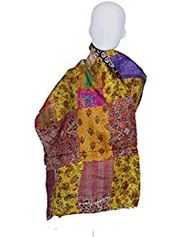 Indistar Vintage Silk Hand Quilted Kantha Hand Work Dupattas Reversible Scarves Scarf Patchwork Multicolor(80200... - B0767LSG4P