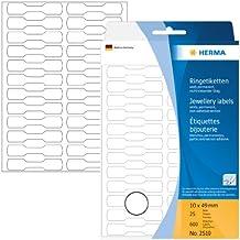 Herma 2510 Ringetiketten, nicht klebender Steg (10 x 49 mm auf Halbkarton) 600 Stück auf 25 Blatt, weiß, Handbeschriftung, Preisetiketten Schmuck