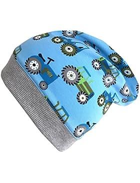 WOLLHUHN Leichte Beanie-Mütze TRECKER / TRAKTOR in hellblau mit grauem Bündchen, für Jungen und Mädchen, 20170813