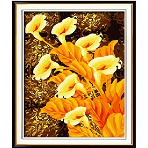 Diy oil painting, paint by number kit- Golden calla 16*20 inch. by (Calla Kit)