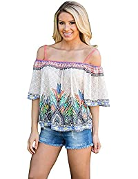 Womdee Women's Off the Shoulder Slash Neck Spaghetti Strap Floral Cami Tank Chiffon Blouse Shirt