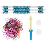 Rare Pack Of 1000Pcs Assorted Dual Colors Rubber Bands W/ 40 Clips DIY Loom Bracelet Kit