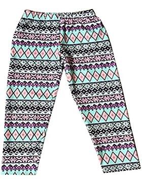 OULII Pantalones de Navidad para Madre e Hija con Copo de Nieve y Reno Pantalones en Invierno Tamaño de los niños...