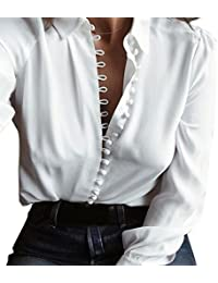 Camisa Larga del Botón de Las Mujeres Flip Collar Manga Larga Casual Top  Blusa Blanca Oferta Blusas de Mujer Elegantes de Fiesta… 30347024ed2fa