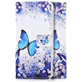 tinxi® Kunstleder Tasche für Microsoft Lumia 650 Tasche Schutz Hülle Schale Etui Flip Case Cover Standfunktion mit Karten Slot blaue Schmetterling