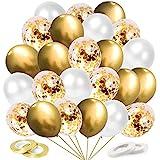Palloncini Oro, 60 Pezzi Palloncini Dorati, Palloncini Coriandoli Oro, Palloncini Metallo Dorati e Bianchi per Compleanno, Ma