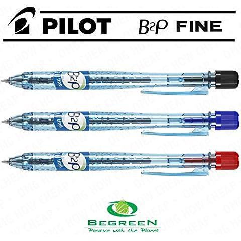 Pilot B2P–Penna a sfera retrattile, confezione da 3, colore: nero, blu, rosso–[94% di plastica riciclata]