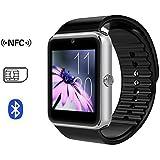 X-REEGA GT08 Bluetooth Smartwatch mit Kamera SIM-Karten-Slot und NFC-Smart-Health Watch für Android Smartphone und iPhone (Silber-Schwarz-Band)