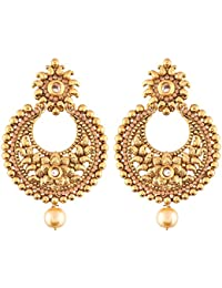 I Jewels Ethnic Gold Plated Chandbali Earrings for Women (E2421FL)
