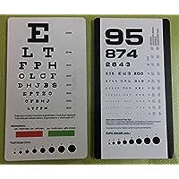 Snellen et Critique) Poche Eye Chart avec échelle et rouge vert lignes