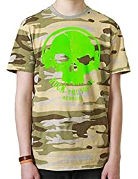 Redrum T-Shirt Oberteil Top kurzaermelig kurze Aermel 100% Baumwolle Camo Beige Gruen