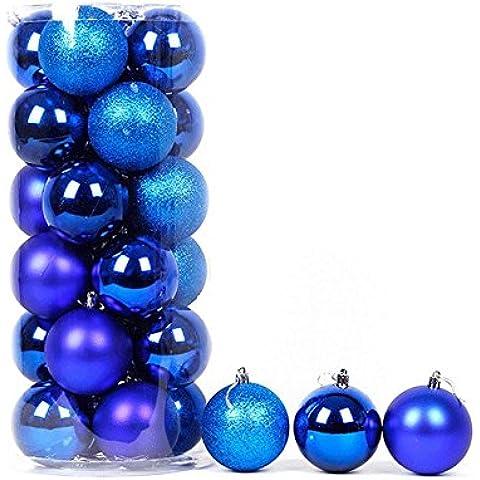 Sfera di Natale Natale forniture all'ingrosso in botte placcato palle leggere 24 albero di natale decorazioni,Blu