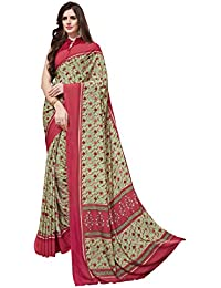 Gaurangi Creation Green Printed Crepe Casual Wear Saree For Women (SW1005 Green & Red)