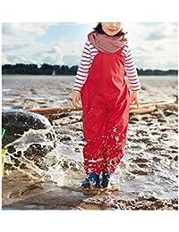 mama stadt Chaqueta Impermeable de Lluvia para Niños + Pantalón Impermeable y Cálido y Cómodo (Rojo, Azul Marino)