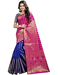Silk Zone Pink & Blue Color Banarasi Silk Saree With Rich Pallu_new Exclusive Banarasi Silk Saree_Latest Banarasi...