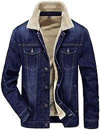 JIINN Herren Herbst Denim Jeansjacke Fell Dicke Jacke Mantel Winterjacke  Warm mit Men Cowboy Jacket… f806e0408f