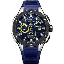 Para hombre cronógrafo analógico muñeca relojes de cuarzo con calendario Display luminoso impermeable silicona pulsera deporte cronómetro para niños azul