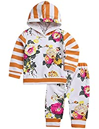 116e2833efa1 Baby Girl Clothes Set Flower Print Hoodies Tops + Floral Long Pants Outfit  for Infant Toddler