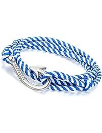 Flongo Joyería Pulseras hombre mujer etnicas multicapas, marino gancho marinero brazalete de verano, diseño sencillo atractivo, Hook Pulseras Camuflaje Azul Cielo