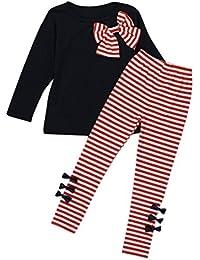Amlaiworld Bebés niñas Chicas Manga larga Bowknot Vestido Camiseta + rayas Pantalones Ropa Conjunto (7