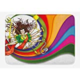 NasNew Ethnic Bath Mat, Figure Vibrant Swirled Rainbow Circle Snake and Auspicious Cultural Illustration,