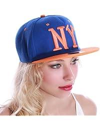 La Modeuse - Casquette bleuebrodée de motif NY orange
