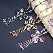 BYWWANG Crystal Butterfly Pendant Long Tassel Necklace Women's Chain Sweater C