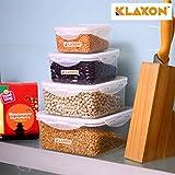 Klaxon Plastic Food Storage Box For Fridge With Lid For Meal, Food, Cereals, Fruits And Vegetables (Standard, White)- Set Of 4