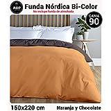 ADP Home - Funda nórdica Bi-Color, Calidad 144 Hilos, 10 combinaciones de colores cama de 90 cm - Chocolate y Naranja