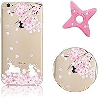 Funda para iPhone 7, Liquid Transparent MAOOY iPhone 7 Ultra Fina TPU Cubierta con Rosa y Blanco Flor Patrón para iPhone 7 + 1 x Enrollador de Auriculares (Color Aleatorio) - flor de cerezo 19