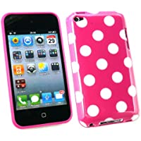 Emartbuy ® Apple Ipod Touch 4th Generazione Dots Polka Gel Cover / Case Rosa Caldo / Bianco