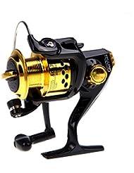 Anizun (TM) nuevo 2015Pesca 6BB Rodamientos de bolas Carrete de pesca izquierda/derecha intercambiables Mango plegable Pesca Spinning Carrete SG30005.1: 1, negro