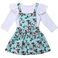 Weihnachten Kinder Overalls Mädchen Casual Langarm Sweatshirt + Cartoon Schneemann Tutu Rock Mini Baumwolle Kleid Mode Prinzessin Partykleid Outfits Set