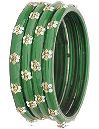 NMII 2 Color Fashionable & Trendy Flower Design Glass Bangle Set Studded With Zircon For Women & Girls On Wedding...