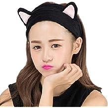 Contever® 1x Lindo Orejas de Gato Diadema Niñas Turbante Franela Cabello Banda Bañera Spa Maquillaje Headband Elasticidad -- Negro