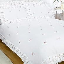 Just Contempo - Juego de funda nórdica y dos fundas de almohada, diseño de flores bordadas, color blanco, mezcla de algodón, Broderie Anglaise - White, matrimonio grande
