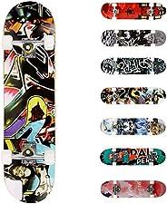 WeSkate Completo Skateboard para Principiantes, 80 x 20 cm 7 Capas Monopatín de Madera de Arce con rodamientos