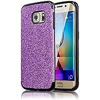 Sycode - Carcasa de silicona con purpurina para Samsung Galaxy S6, color azul, morado