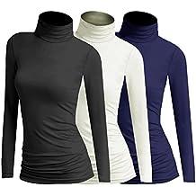 3x Damen Frauen Langarm Rollkragen - Rolli - Rollkragenshirt - Turtleneck T  Shirt - 3er Pack 50f5266bc2