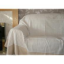 Homescapes Couvre lit - Couverture, 2 personnes (250 x 200cm). Pur coton ULTRA DOUX. Couleur BEIGE BLANC