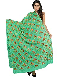 Exotic India Phulkari Dupatta From Punjab With Hand-Embroidered Flowers All-Over