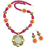Fashionvalley Pink Beads Antique Pendant Designer Necklace Set for Girls/Women