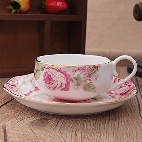 ZHGI Alta bone china tazza da caffè Continental Cup set tazza da caffè con piattino set con cucchiaio combinazione in stile inglese red Cup,C