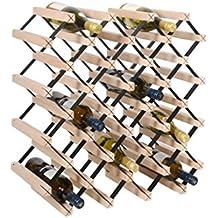 Botellero para vinos PRAVA, metal y madera de haya, per 28 botellas - alt. 59,5 x anch. 59,5 x pr. 24,5 cm