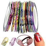 10pcs Multicolor Mixed Colors Rollos Striping Línea de cinta Nail Art Decoración Sticker DIY uñas color aleatorio