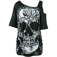Trydoit T-Shirt à Manches Courtes pour Femmes AU Large des éPaules  ImpriméEs Tête de 372fc42dcf19