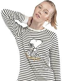 GISELA Pijama de Mujer Snoopy 2/1539 - Mostaza, XL