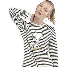 GISELA Pijama para Mujer a Rayas de Invierno Snoopy